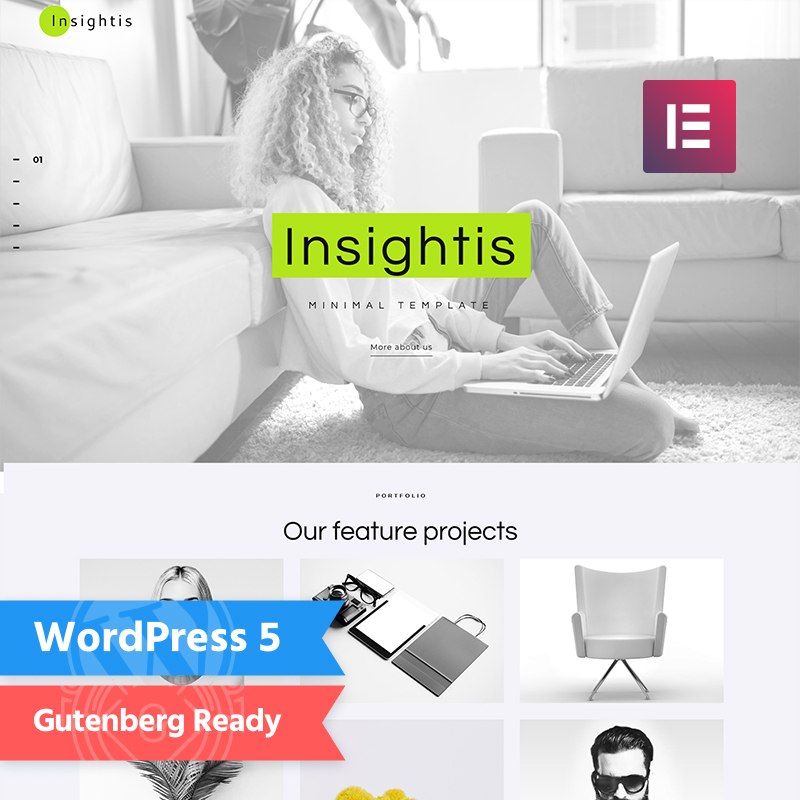 Insightis - Creative Minimal Elementor WordPress Theme - best WordPress blog themes